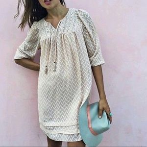 One September Light Blue Anwen Peasant Dress